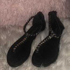 Black Sandals with Silver design
